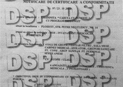 Certificat Conformitate la rezolutie mare
