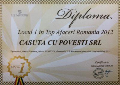 Diploma Loc 1 Top Afaceri RO 2012