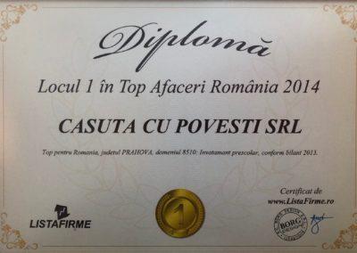 Diploma Loc 1 Top Afaceri RO 2014