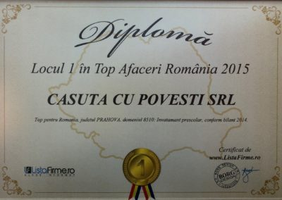 Diploma Loc 1 Top Afaceri RO 2015