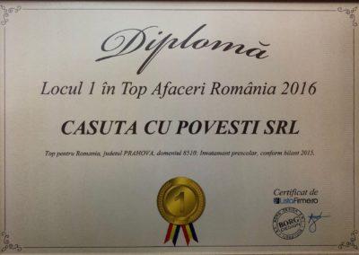 Diploma Locul 1 TOp Afaceri RO 2016